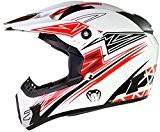 Qtech - Casque Viper de moto/enduro/MX tout-terrain - noir, rouge, orange et bleu - Rouge - XL (61-62 cm)
