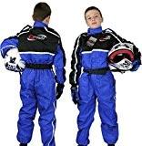 Qtech - Combinaison intégrale de moto-cross/karting/moto - enfant - Bleu - L