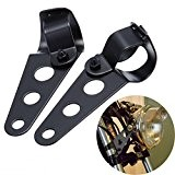 Ridgeyard 2pcs Support Patte de Feu Phare Avant Montage Mount Bracket Moto Noir 28-35mm