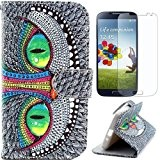 Semoss Vert Oeil Coque Cuir Etui Housse pour Samsung Galaxy S4 i9500 i9505 PU Eyes Folio Flip Portefeuille Wallet Cover ...