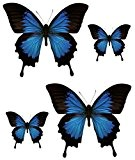 Set 4x autocollant sticker voiture moto macbook deco papillon bleu noir frigo