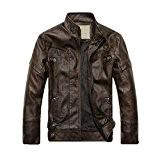 SODIAL(R) 2014 NEUF Mode Hommes Cuir cuir manteaux de moto veste lave manteau de cuir Cafe Taille L
