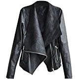 SODIAL(R) Mode Vintage Femmes Mince Motard Motocyclette PU Cuir Souple Zippe Veste Manteau Noir L