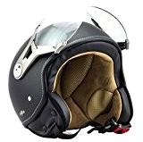 SOXON SP-325-MONO Night Casque Jet Vespa Helmet Vintage Chopper Moto Bobber Mofa Demi-Jet Biker Scooter Cruiser Retro Pilot, ECE certifiés, ...