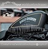 Stickers Righini Double bordure pour réservoir Custom Harley Davidson Iron