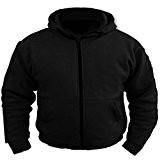 Sweat-shirt de moto à capuche - matière polaire - protection 100 % Kevlar certifiée CE - Noir - L