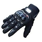 Tongshi® 1 Paire de Gants Roche Noire Sport Courtes Cuir Moto d'été (L)