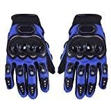 TOOGOO(R) 1 paire de Gants de moto Gants de course Moto fibres PU Bleu XL