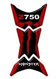 Totalstickers K-006 Protège-réservoir en résine 3D pour moto Compatible avec moto Kawasaki Z-750 rouge