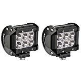 Ukboystar 2x 18W LED Lampes de travail Lampes de brouillard Astigmatisme LED Véhicule Phare BAR Spot pour Tout-terrain Chantier Jeep ...
