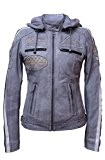 Urban Leather UR-160 Femme Veste de moto avec protections, gris, grand : S