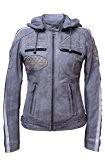 Urban Leather UR-160Femme Veste de moto avec protections, gris, grand: S