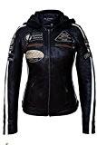 Urban Leather UR de 154Femme Veste de moto avec protections, noir, GRANDE: L