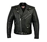 Veste pour homme - style Perfecto - cuir de vachette - noir - 3XL - tour de poitrine 122cm
