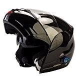 Viper Rsv-131Bluetooth 3.0Rabat avant Couvercle casque de moto-Noir brillant