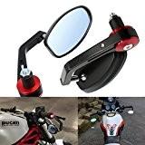 """ViZe 7/8"""" 22mm Rétroviseurs Latéraux Universel Miroir Moto Poignée Rouge Pour Yamaha Honda Triumph Ducati Motif Noir"""