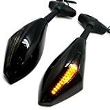 WASTUOMiroirs de moto avec clignotants de fumée orange Objectif Led Clignotant Indicateur Side Marker Rétroviseur intégré